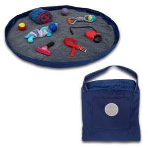 LAY/N/GO TRAVEL BED NAVY AND GREY  (NO TOYS INCL)